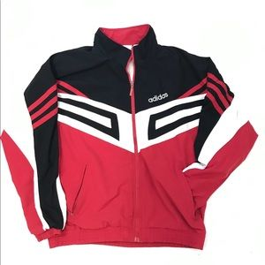 Vintage adidas Jacket Spelled Out Red Black Lined